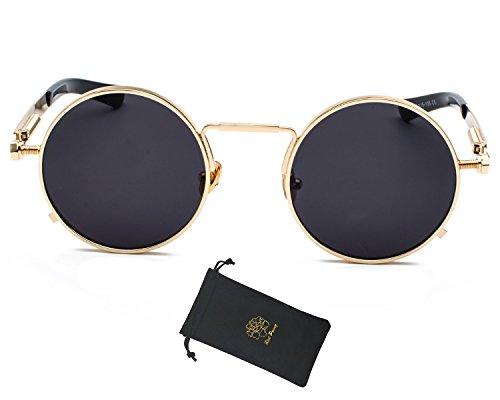 Red Peony Round Retro Sunglasses Gothic Steampunk Metal Frame UV400 Sunglasses (Gold, - Gold Round And Sunglasses Black