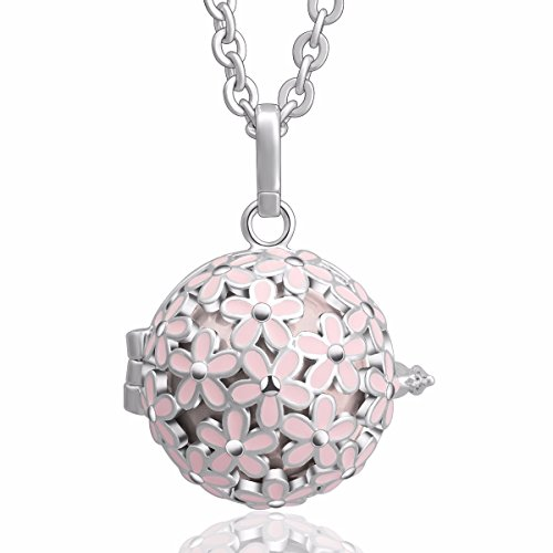 EUDORA Harmony Bola Cherry Blossom 18mm Chime Angel Chime Caller Pendant Necklace 30'' (Peach) (Chime Ball Bracelet)