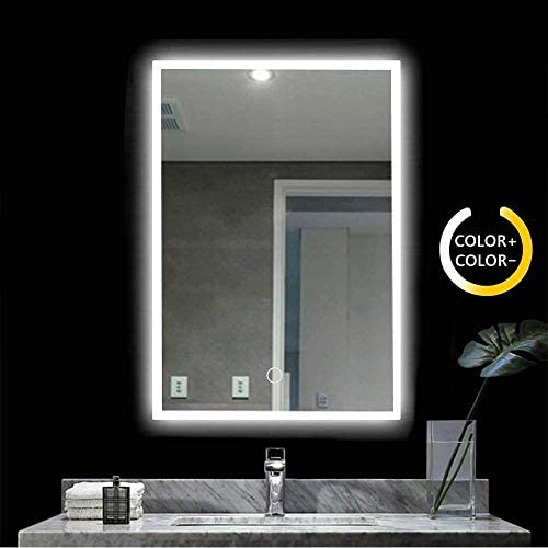 Led Lighted Bathroom Mirror – 28×20 Inch Wall Mounted Illuminated Mirror – Hang Vertically or Horizontally – Touch Button Adjustable White Warm White Warm Lights