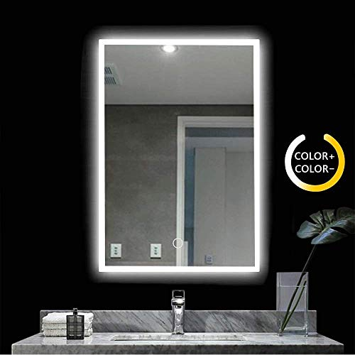 Led Lighted Bathroom Mirror - 28x20 Inch Wall Mounted Illuminated Mirror - -