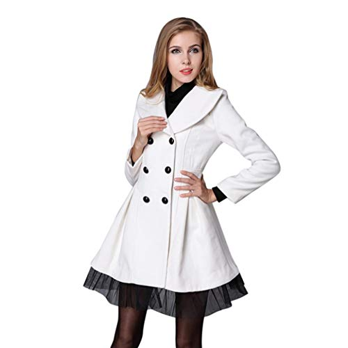 Spbamboo Womens Flare Double Breasted Trench Jacket Long Lapel Outwear Pea (Coat White Double Breasted Knots)