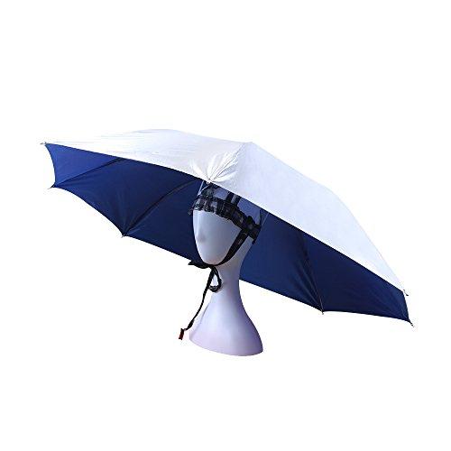 JANGANNSA UV Protection Umbrella Hat Double Canopy Ventilative for Fishing Gardening Headwear Sun Rain Cap (Blue) -