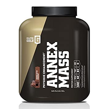 Complete Nutrition Elite Gold Annex Mass Whey Protein Powder, Brownie Batter, 40g Protein, 550 Calories per Serving, Mass Gainer Protein Powder Blend, Metabolism Energy Booster, 5.6lb Tub