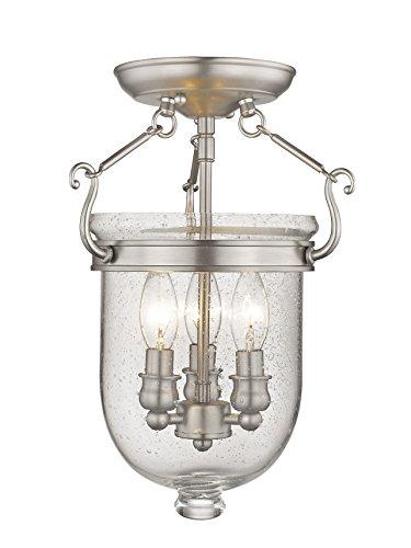 - Livex Lighting 5081-91 Jefferson 3 Light Brushed Nickel Bell Jar Semi Flush with Seeded Glass