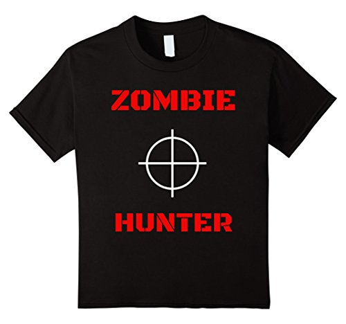Kids Zombie Hunter Slayer Funny T-Shirt 8 Black