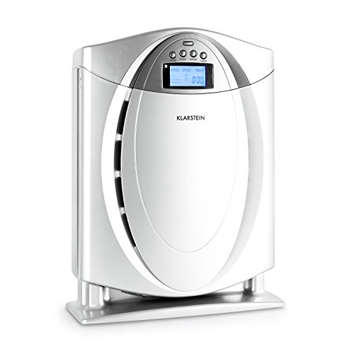 KLARSTEIN Grenoble 4-in-1 HEPA Air Purifier • Switchable Air Ionizer • Replacable Filter • Allergen, Odors, Smoke, Dust Remover • Quiet Operation • LCD-Display • Silver