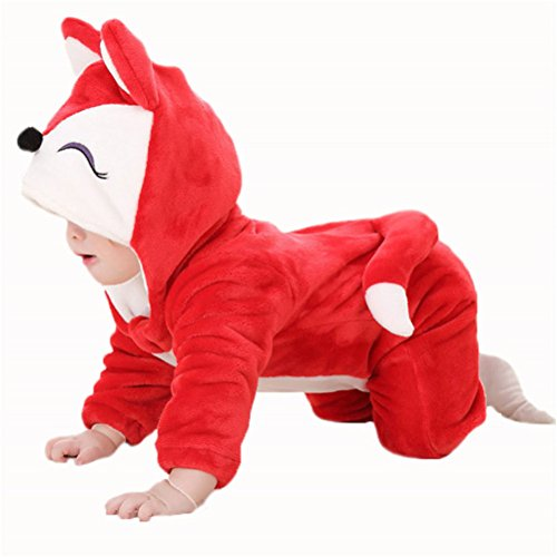 [Baoji Infant Unisex-baby Winter Flannel Romper Onesie Outfits Suit 90 Red Fox] (Baby Fox Costumes For Infants)