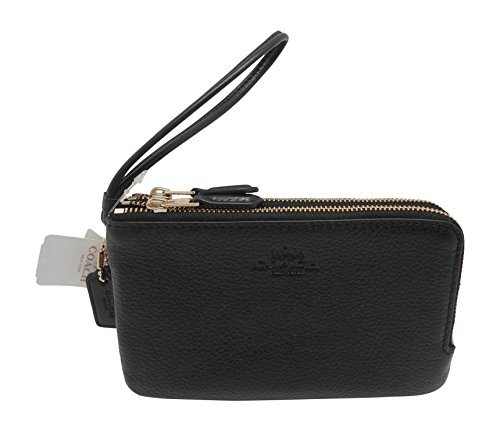 Coach F66505 Pebble Leather Double Corners Zip Wristlet Black