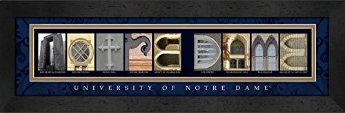 Notre Dame Framed Art - Prints Charming Letter Art Framed Print, U of Notre Dame-Notre Dame, Classic Blue Border