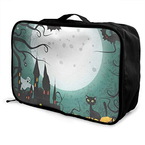 Travel Bags Halloween Pumpkin Cute Portable Suitcase Trolley Handle Luggage Bag]()