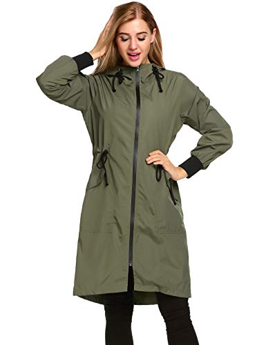 Zeagoo Womens Lightweight Hooded Waterproof Long Windbreaker Active Outdoor Rain Jacket Army Green XXL