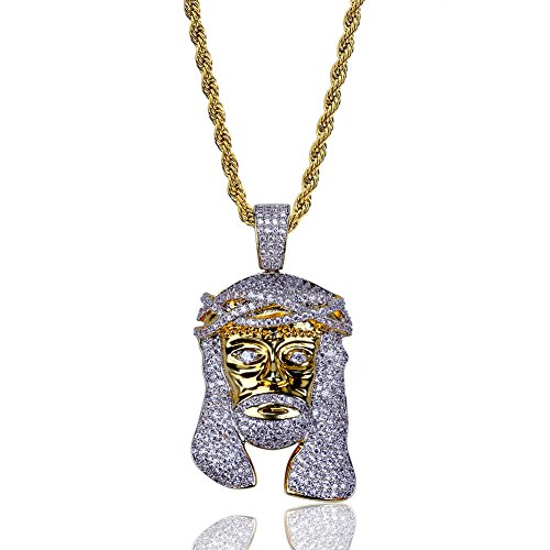 TOPGRILLZ Men Hip Hop Gold Plated Iced Out Jesus Piece Pendant Necklace with Rope Chain (Gold)