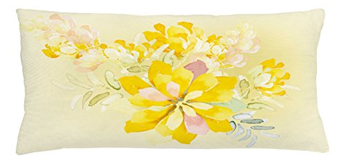 Abstract Orchid - Ambesonne Country Throw Pillow Cushion Cover, Romantic White Yellow Flowers Leaves Orchids with Abstract Backdrop Image Print, Decorative Square Accent Pillow Case, 36 X 16 inches, Multicolor