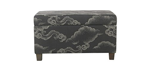 Whimsical,Durable and Inviting HomePop Kids Storage Bench - Gray Clouds - Grey,Great Addition to Your Child's Room