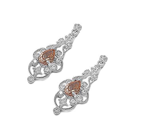 Teardrop Champagne Cubic Zirconia Chandelier Designer Hook Dangle Earrings 925 Sterling Silver