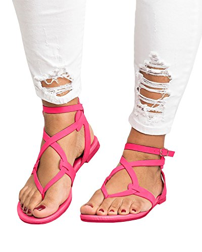 ThusFar Women Casual Clip Toe Flat Thong Sandals Strappy Ankle Strap Buckle Leather Sandals Shoes Rose