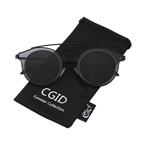 (CGID MJ78 Womens Fashion Double Metal Bridge Crossbar Round Polarized Sunglasses Oversized UV400 Mirrored)