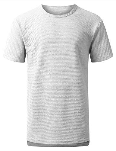 URBANCREWS Mens Hipster Hip Hop Ribbed Knit Longline T-shirt WHITE, S