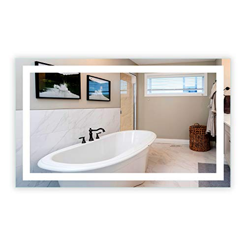 LED Front-Lighted Bathroom Vanity Mirror 60 Wide x 36 Tall – Commercial Grade – Rectangular – Wall-Mounted