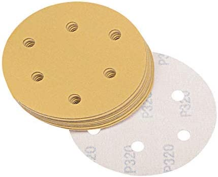 5 Inch 6 Holes 320-Grains Sanding discs of hooks and loops Aluminum oxide 10 pieces
