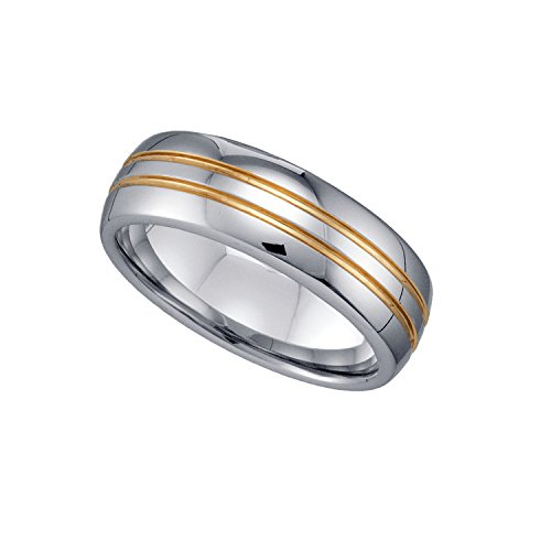 FB Jewels Tungsten Shiny Comfort-fit 7mm Wedding Band Ring with 2 Gold-Toned Grooves - Size -