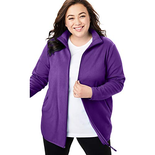 - Woman Within Women's Plus Size Zip-Front Microfleece Jacket - Radiant Purple, 1X