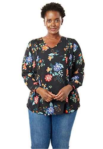 Woman Within Plus Size Pintucked V-Neck Blouse - Black Floral, 2X