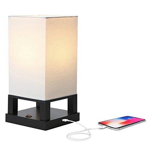 D USB Side Table & Desk Lamp – Modern Asian Style Lamp with Wood Frame & Soft, Ambient Lighting Perfect for Living Room Bedside Nightstand Light- Energy Efficient - Black ()