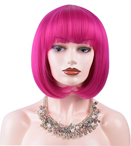 Colorful-Womens-Short-Bob-Wig-with-Bangs-12-Straight-Synthetic-Wigs-Halloween-Cosplay-Daily-Party-Wig-