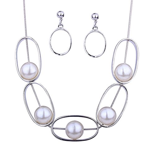 DiLiCa Women Statement Oval Pendant Simulate Faux Pearl Bib Necklace and Dangle Earring Jewelry Set - Oval Pearl Faux