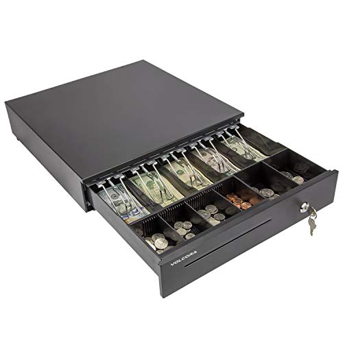 Cash Register Drawer for Point of Sale (POS) System with Removable Coin Tray, 5 Bill/6 Coin, 24V, RJ11/RJ12 Key-Lock, Media Slot, Black