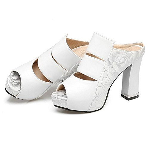 TAOFFEN Women Fashion Platform Sandals Mules White oFAXslc3