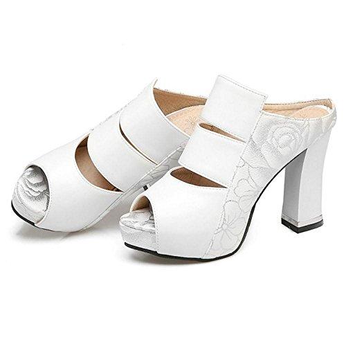 Mules Peep RAZAMAZA White Femmes d'Été xpFwF7P