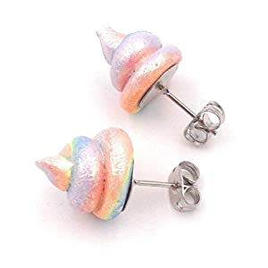 Unicorn Poop Earrings Rainbow Shimmer Shine 18k Gold Plated Fashion Studs