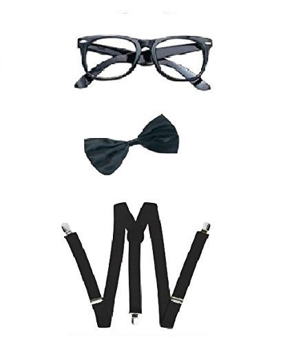 Nerd Bow Tie, Braces and Geek Glasses Kit Fancy Dress -