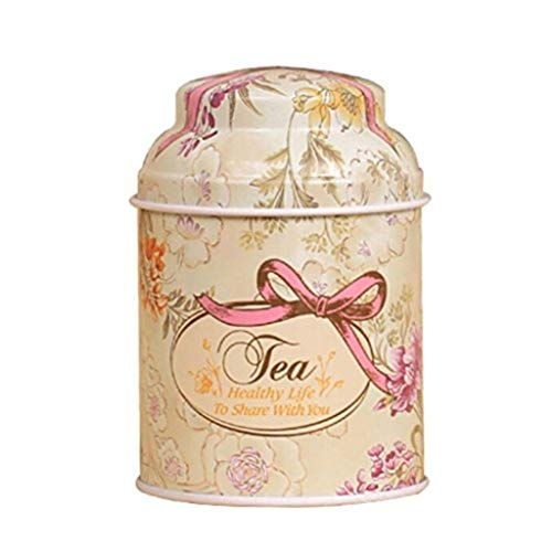 (yanQxIzbiu Tea Container, Premium Tinplate Caddy Box Vintage Fresh Flower Round Tea Tins for Home Kitchen Storage Containers Colorful Tins - E)