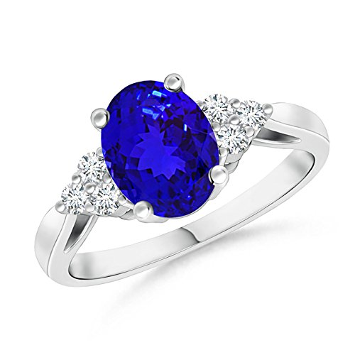 December Birthstone - Oval Tanzanite Cocktail Ring for Women with Trio Diamond Accents in Platinum (8x6mm (Oval Tanzanite Platinum Ring)