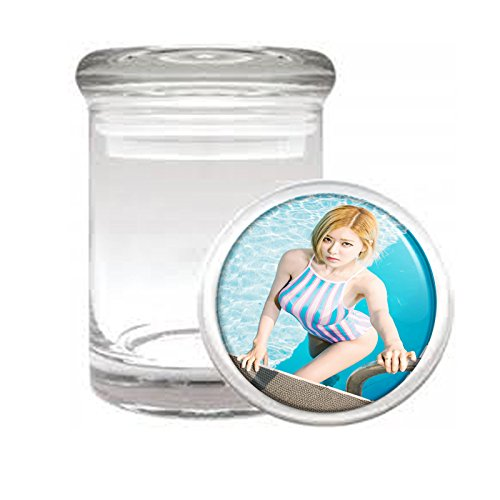 Medical Glass Stash Jar Thai Thailand Pin Up Girls Model S8 Air Tight Lid 3'' x 2'' Small Storage Herbs & Spices by JS & Caren
