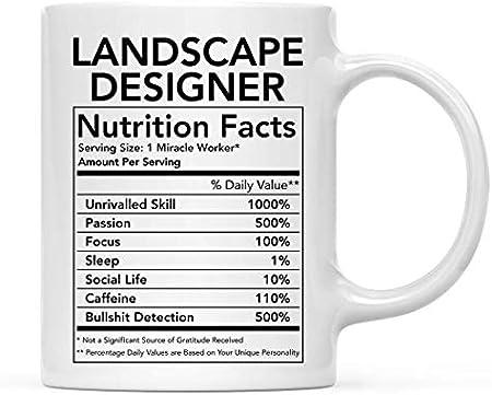 N\A Divertida Taza de cerámica para café, té, Regalo de Agradecimiento, información nutricional del diseñador paisajista, Paquete de 1, Novedad, Broma, cumpleaños, Ideas para compañeros