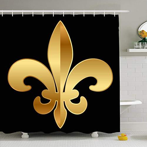 Fleur De Lys Emblem - Ahawoso Shower Curtain 72x78 Inches Flower Lis Gold Fleurdelis On Fleur Li LYS Pattern Royal Design Waterproof Polyester Fabric Set with Hooks