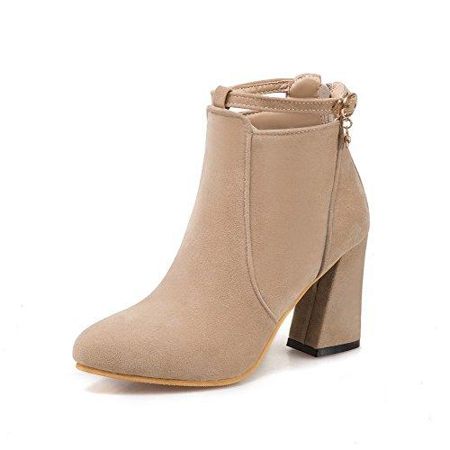 AllhqFashion Damen Spitz Zehe Blockabsatz Rein Mattglasbirne Stiefel mit Schleife, Cremefarben, 40