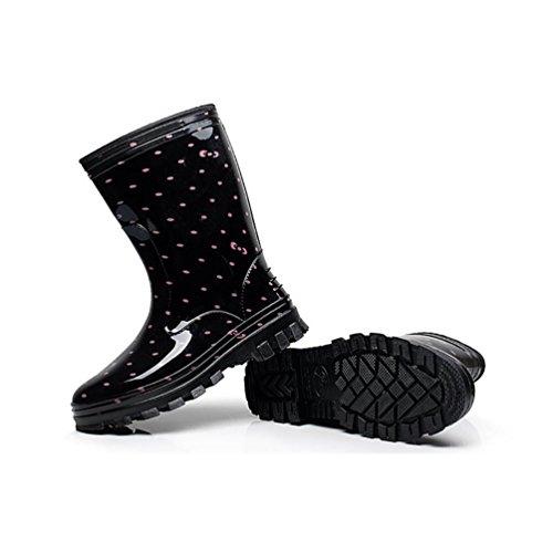 LvRao Botas de Agua de Lluvia el Tacón Alto de las Mujeres | Boots Impermeable Botas Largas de los Tobillo Botines Rosado sin Pelaje