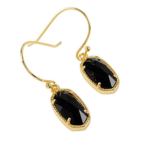ZENGORI 1 Pair Gold Plated Hexagon Multi-kind Natural Gemstones Drop Dangle Earrings