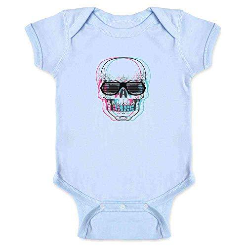 Pop Threads Skull with Shutter Sunglasses Light Blue 6M Infant Bodysuit
