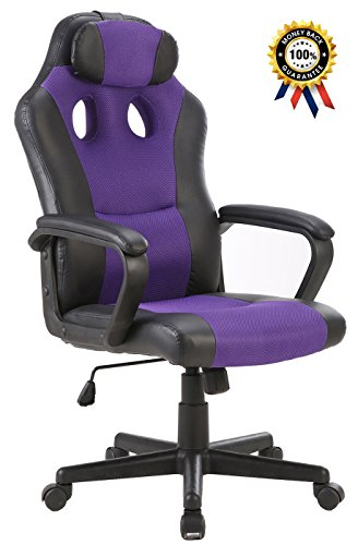 SEATZONE Smile Face Series Leather Gaming Chair, Racing Style Large Bucket Seat Computer Desk Chair, Executive Office Swivel Chair with Headrest, - Purple Chair Computer