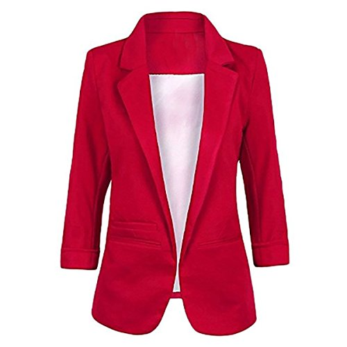 Obazidou Women's Cotton Rolled Up Sleeve No-Buckle Blazer Jacket Suits Wine Red Medium 2018