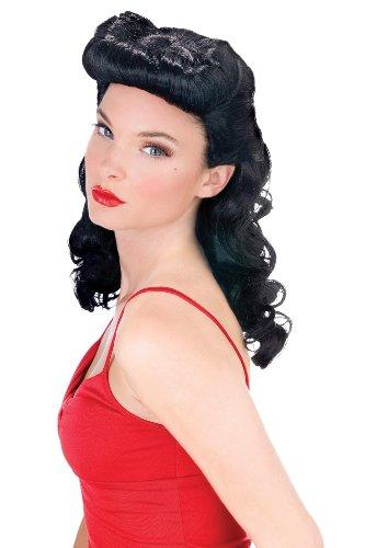 40s Pin Up Girl Costumes Halloween (Fun World Women's Burlesue Beauty Wig, black,)