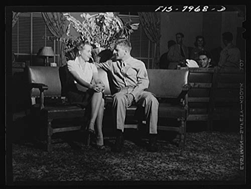 Reproduced Photo of Washington, D.C. Sergeant George Camblair and his girl sitting out a number at a United Service Organization USO dance while he is at home on a weekend furlo 1942 Delano C Jack 08a by Vintography