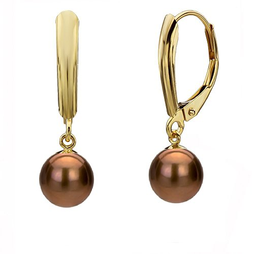 14K Yellow Gold Dyed-brown Freshwater Cultured Pearl Lever-back Earrings 5-5.5mm