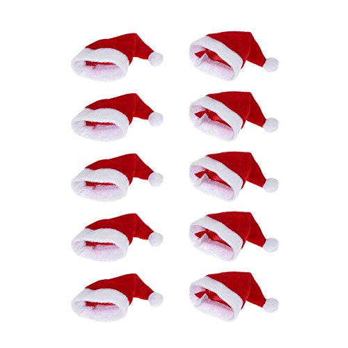(WinnerEco 10pcs Mini Christmas Hat Cup Bottles Cover Christmas Crafts Accessories Gift Home Decor)